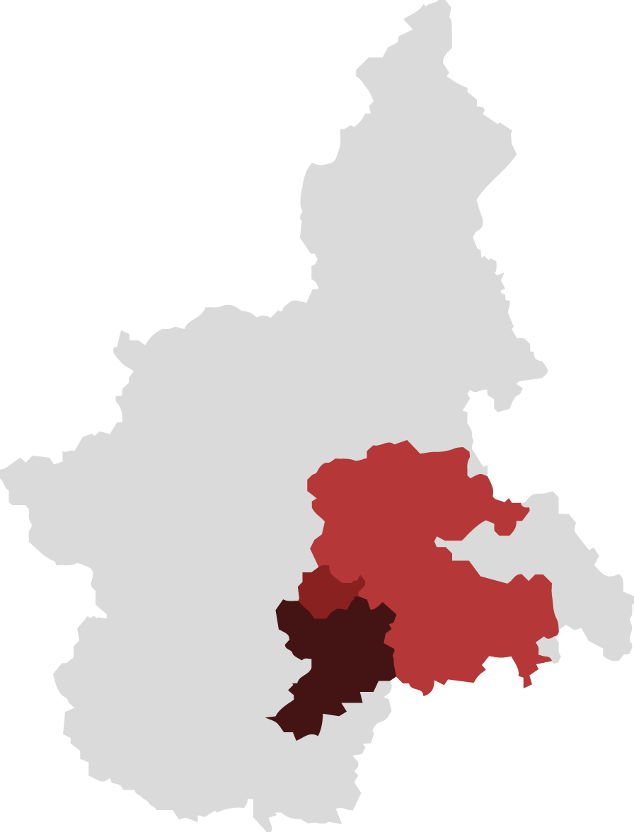 Territory: map of Langhe, Roero and Monferrato